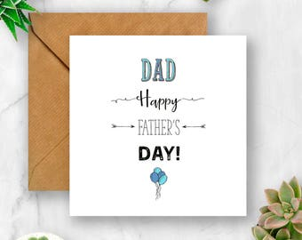 Happy Father's Day Balloons Card, Card for Father's Day, Dad Card, Card for Dad, Daddy Card