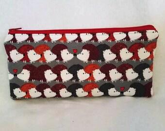 Hedgehogs long zipper Pencil Case-hedgehog love
