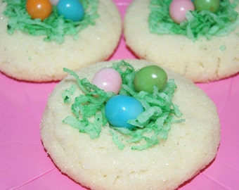 Birds nest cookies - Easter Basket Fillers, Homemade, Easter Cookies, Decorated Sugar Cookies, edible gift, baked goods, gift for her