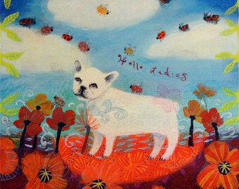 French Bulldog and Ladybug art print - limited edition giclee on canvas - dog art/whimsical art