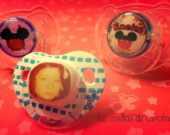 Personalized pacifiers with photo, text or drawing