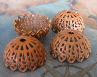 2 PC Victorian Raw Brass Bead/Bead Cap - Jewelry Finding -  R0376