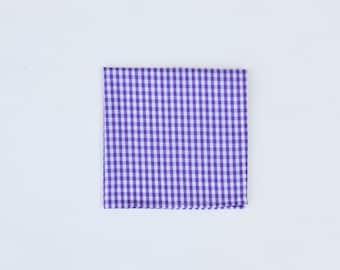 NEW Purple Gingham Pocket Square / Summer - Lavender Fields Handkerchief
