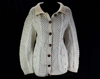 Size 12 Wool Cardigan - Expert Artisan Knit Irish Fisherman's Sweater - Ladies Button Front Jumper - Hand Knitted - Cream - Bust 39 - 46063