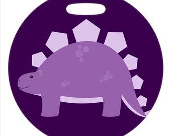 Stegosaurus - 4 Inch or 2.5 Inch Round Plastic Bag Tag