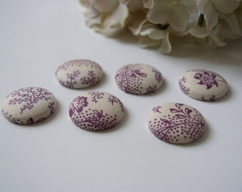 Wedding Placecard Magnets - French Cottage Plum and Cream Floral Fabric Button Magnets - Set of 25 for reception seating placecards