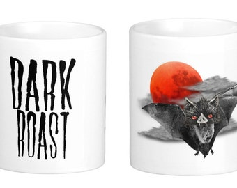 Dark Roast Vampire Bat Coffee Mug or Tea Cup Evil Moon by Necessary Nonsense