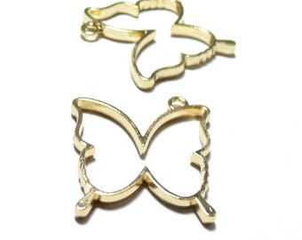 4 Golden Butterfly charms for creation of resin or polymer clay HS4734E