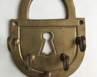 Vintage Brass Key Holder Lock Shaped With Five Hooks Classic Bohemian
