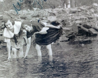 vintage photo Young Women NEley and Frances Wade in the water photograph
