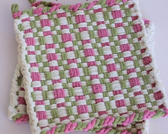 Checked Pot Holders | Ivory Pink & Green Potholders | Hand Woven Hot Pads | Spring Kitchen Decor | Large Cotton Trivets | Hostess Gift Mom