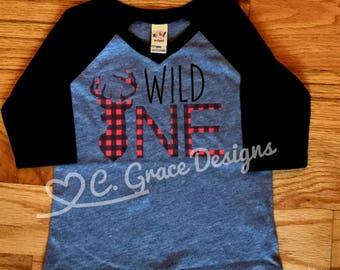 Wild one birthday shirt deer silhouette buffalo plaid