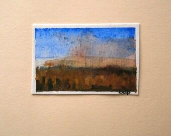 A Tuscany Landscape (No 28) - Original Mini Watercolour on paper