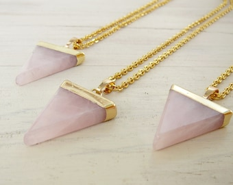 Rose Quartz Point Necklace Rose Quartz pendant Long Necklace Healing Crystal Necklace for women Necklace Rose Quartz Crystal women gift