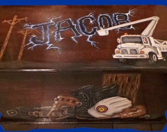 Custom Power Lineman Toy Box, kids furniture, wooden chest, room decor, personalized, art and decor, wooden toy box, hand made, hand painted