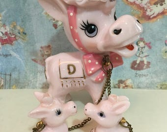 FREE WORLDWIDE SHIPPING Rare Vintage Antique Pink Donkey Family Figurines Collectibles or Cake Toppers