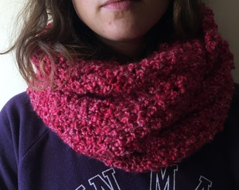 Pink Knitted Cowl Scarf