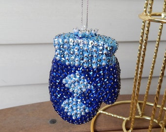 Sparkly Blue and Silver Sequins Mitten Ornament