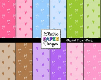 Hearts Digital Paper -  Brightly Colored Digital Hearts Background  Paper - Instant Download