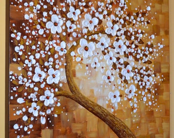 Large abstract canvas art white cherry blossom impasto palette knife painting by Zara