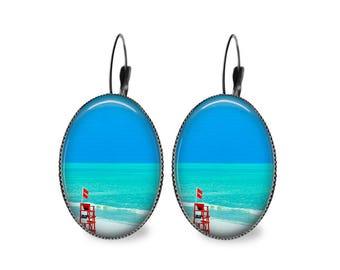 Beach Chair Oval Earrings