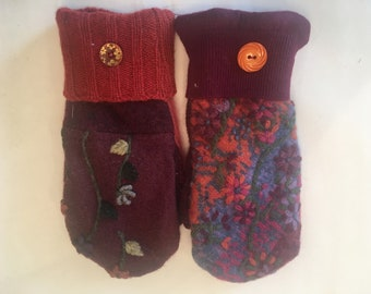 Wool mittens made from upcycled wool sweaters