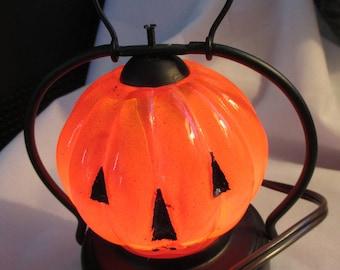 Vintage Halloween Jack-o-Lantern Pumpkin Glass light - Night Light or Window Light - Estate find!