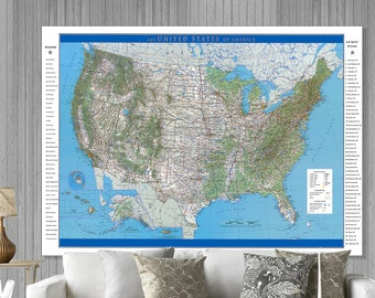 Large USA Map. Modern USA Map.  Up to a 6xft x 8ft map.  Large United States Map,  BWMusa6