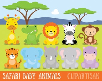Safari Baby Animals Clipart / Jungle Animals Clipart / Zoo Animals Clipart