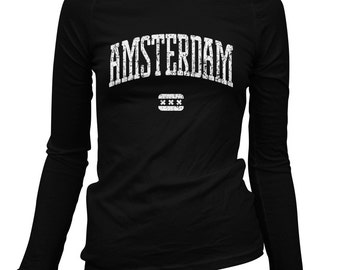 Women's Amsterdam LS T-shirt - Long Sleeve Ladies Tee - S M L XL 2x - Holland Netherlands - 2 Colors