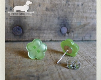 DOLLAR DEAL! Green Blossoms. Flower Post Earrings -- (Flower Studs, Spring, Lime, Small, Vintage Style, Bridesmaid Jewelry, Gift Under 5)