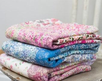 Liberty print patchwork fleece backed baby snuggle blanket, moses basket blanket/ pram quilt, baby comforter blanket