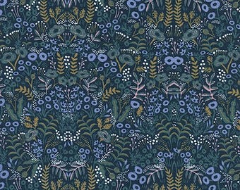 Tapestry Navy from Menagerie by Anna Bond of Rifle Paper Co for Cotton + Steel - 1/2 Yard