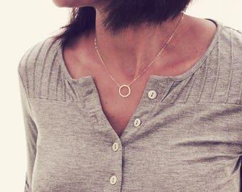 Open Circle Necklace / Silver Karma Necklace / Eternity Necklace / Simple Circle Necklace / Halo Necklace / Rose Gold Circle Necklace