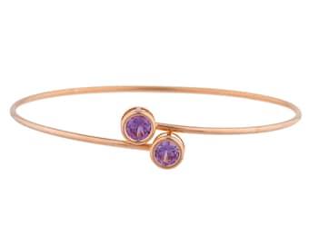 14Kt Rose Gold Plated Alexandrite Round Bezel Bangle Bracelet