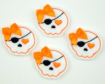 SWEET PIRATE - Embroidered Felt Embellishments / Appliques - White & Orange  (Qnty of 4) SCF0170