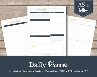 Daily Planner / Printable Planner / To Do List / Day Organizer / Planner Inserts / A5 / Letter / Schedule / Goal Planner / PDF / Organizing