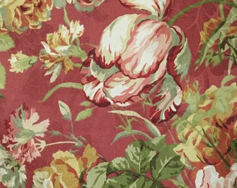 Red, Green, and  White Floral Print - Upholstery Fabric by the Yard