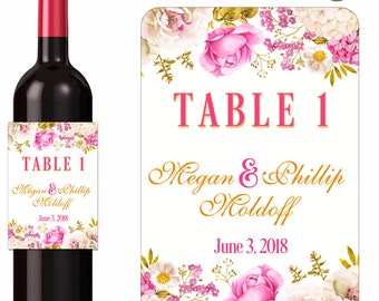 Personalized Wedding Labels / Custom Wine Labels / Table Number Labels / Floral / Pink Gold Flowers / Waterproof Labels / Anniversary