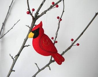 Felt Cardinal Ornament - Felt Christmas Ornament - Cardinal bird ornament- Red bird, Christmas decoration, Embroidered tree decoration