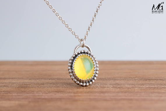 Fiery Ethiopian Opal Gemstone Necklace in Sterling Silver with Beaded Border