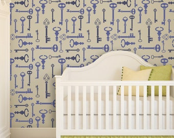 Wall Stencil Key Pattern Reusable stencil better than Wall Decals