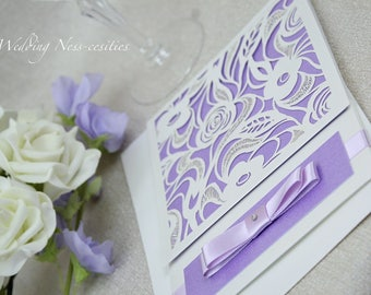 Purple Floral Laser Cut Wedding Invitation
