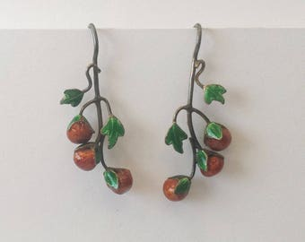 Vintage Thousand Flowers 1970s Cloisonné Enamel Red Berries Vine Floral Pierced Earrings Sterling Silver