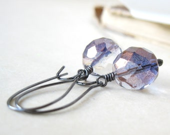 Exposed Czech glass and gunmetal glass earrings