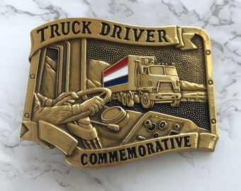 Vintage Belt Buckle Truck Driver Commemorative Solid Brass 1984 Baron Buckle Limited Edition