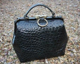 doctor's bag black reptile print