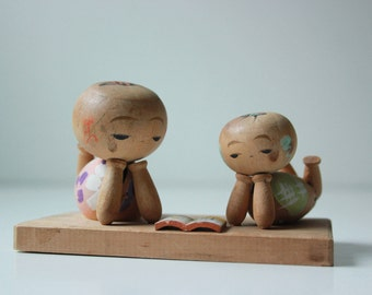 Vintage wood kokeshi dolls