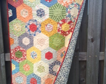 Quilts for Sale / Baby Quilts / Quilt / Gender Neutral / Boy Quilts/ Girl Quilts /Hexagon Quilt /Baby Shower / Crib Bedding