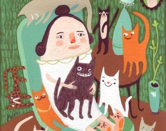Cat Lady ACEO Print - Whimsical Folk Art - Teal and Orange